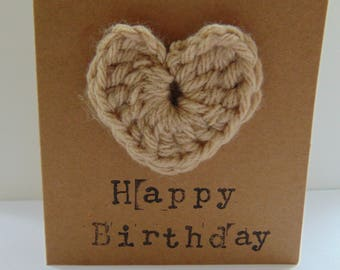 """Handmade """"Happy Birthday"""" card with handmade crochet heart / Hand stamped / Get Well Soon / Congratulations / New Home"""