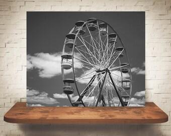 Ferris Wheel Photograph - Carnival Photo - Black White Fine Art Print - Wall Decor - Sky Pictures - Children's Decor - Fun Wall Art - Summer