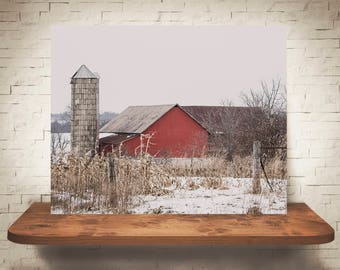 Barn Photograph - Fine Art Print - Color Photography - Landscape Wall Art -  Farm Pictures - Farmhouse Decor - Winter - Country Decor