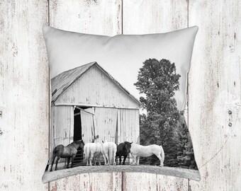 Horse Barn Decorative Pillow - Throw Pillows - Equine Decor - Horse Decor - Gifts - Rustic - Farmhouse Decor - Black White