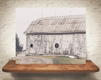 Christmas Barn Photograph - Fine Art Print - Farm Photography - Wall Art - Wall Decor -  Barn Pictures - Farmhouse Decor - Winter Scene