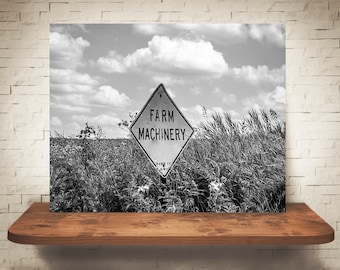 Farm Machinery Sign Photograph - Fine Art Print - Black White Photography - Wall Art Decor -  Farm Pictures - Farmhouse Decor - Country