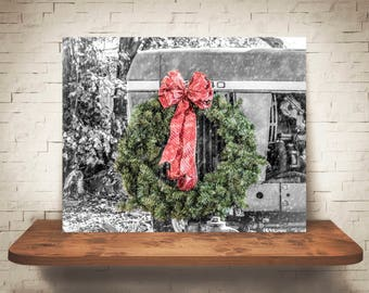 Christmas Wreath Tractor Photograph - Fine Art Print - Farm Photography - Wall Art - Pictures - Farmhouse Decor - Winter Scene - Holiday