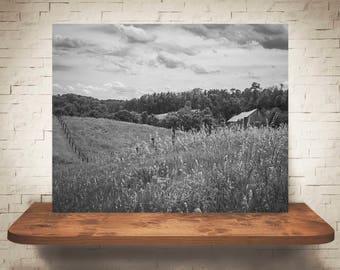 Barn Photograph - Fine Art Print - Black & White Photography - Wall Art - Wall Decor -  Barn Pictures - Farmhouse Decor - Clouds - Field