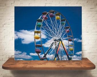 Ferris Wheel Photograph - Carnival Photo - Color Fine Art Print - Wall Decor - Blue Pictures - Children's Decor - Fun Wall Art - Summer Sky