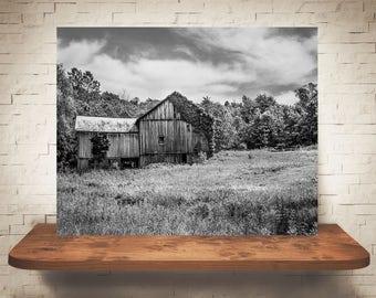 Barn Photograph - Fine Art Print - Black & White Photography - Wall Art - Wall Decor -  Barn Pictures - Farmhouse Decor - Clouds - Truck