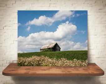 Barn Photograph - Fine Art Print - Color Photography - Landscape Wall Art -  Farm Pictures - Farmhouse Decor - Clouds