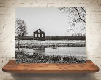 Black & White Barn Photograph - Fine Art Print - Farm Photography - Wall Art - Wall Decor -  Barn Pictures - Farmhouse Decor - Lake Scene