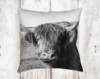 Scottish Highland Cow Cattle Decorative Pillow - Throw Pillows - Farmhouse Decor - Gifts - Rustic - Country Decor - Cows - Black White