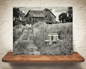 Milk Farm Photograph - Fine Art Print - Black & White Photography - Wall Art - Home Decor - Wall Decor -  Rustic Pictures - Farmhouse Decor