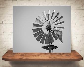Windmill Photograph - Fine Art Print - Black & White Photography - Wall Art - Farm Pictures - Farm House Decor - Country - Neutral Decor