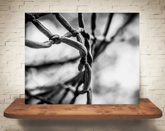 Basketball Net Photograph - Black White Photography - Fine Art Print - Wall Decor - Sports Pictures - Man Cave Decor - Gifts
