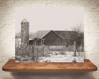 Barn Photograph - Fine Art Print - Black White Photography - Landscape Wall Art -  Farm Pictures - Farmhouse Decor - Winter - Country Decor