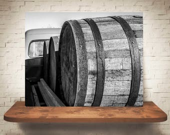 Wine Barrels Photograph - Fine Art Print - Home Wall Decor - Black & White - Wood Barrel Pictures - Bourbon Barrel - Rustic Artwork - Winery