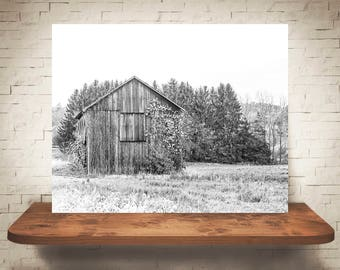 Barn Photograph - Fine Art Print - Black & White Photography - Wall Art - Wall Decor -  Barn Pictures - Farmhouse Decor - Old Weathered Barn