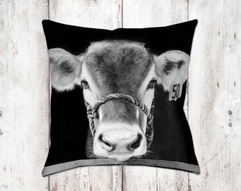 Brown Swiss Cow Decorative Pillow - Throw Pillows - Farmhouse Decor - Gifts - For Her - Country Decor - Cows - Black White
