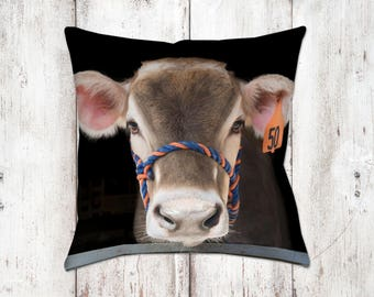 Brown Swiss Cow Bella Decorative Pillow - Throw Pillows - Farmhouse Decor - Home Decor - Gifts - For Her - Cow Decor - Cows - Country Decor