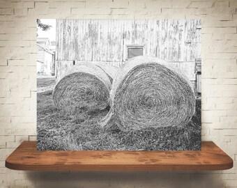 Hay Bales Photograph - Fine Art Print - Black & White Photography - Wall Art - Wall Decor -  Farm Pictures - Farmhouse Decor - Rustic
