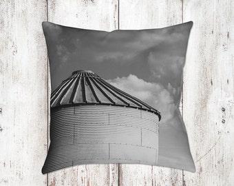 Silo & Clouds Decorative Pillow - Throw Pillows - Farmhouse Decor - Black White Decor - Gifts - Rustic - Country Decor