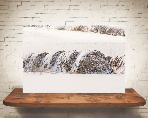 Hay Bales Snow Photograph - Fine Art Print - Color Photography - Winter Wall Art Decor - Farm Pictures - Farmhouse Decor - Country Decor