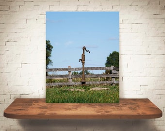 Water Pump Photograph - Fence - Fine Art Print - Color Photography - Wall Art - Farm Pictures - Farmhouse Decor - Country - Rustic