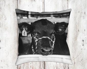 Cow Decorative Pillow - Throw Pillows - Farmhouse Decor - Black & White Decor - Gifts - Rustic - Cow Decor - Cows - Country Decor