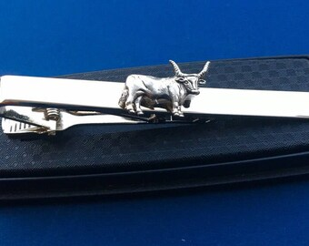 Bull Tie Bar~Tie Clip~Cattle Tie Clip~Handmade in the USA~FAST Shipping from the USA~Father's Day GiftFather's Day Gift