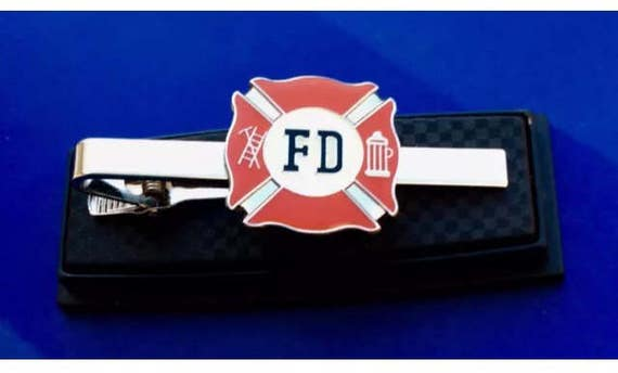 Silver Toned Etched Oval Fire Fighter Emblem Tie Clip