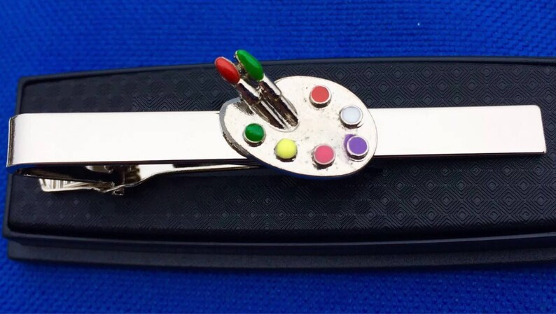 Paint Palette Tie Clip~Artist~Art Tie Bar~Handmade in the USA~FAST Shipping from the USA~
