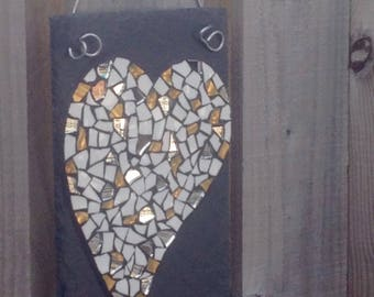 Gold, white and silver recycled mosaic heart on slate with a kiss. Lovely wedfing or anniversary gift
