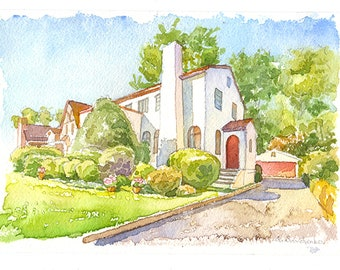 Custom house portrait Watercolor home portrait Custom watercolor house painting House portrait watercolor My First home Realtor closing gift