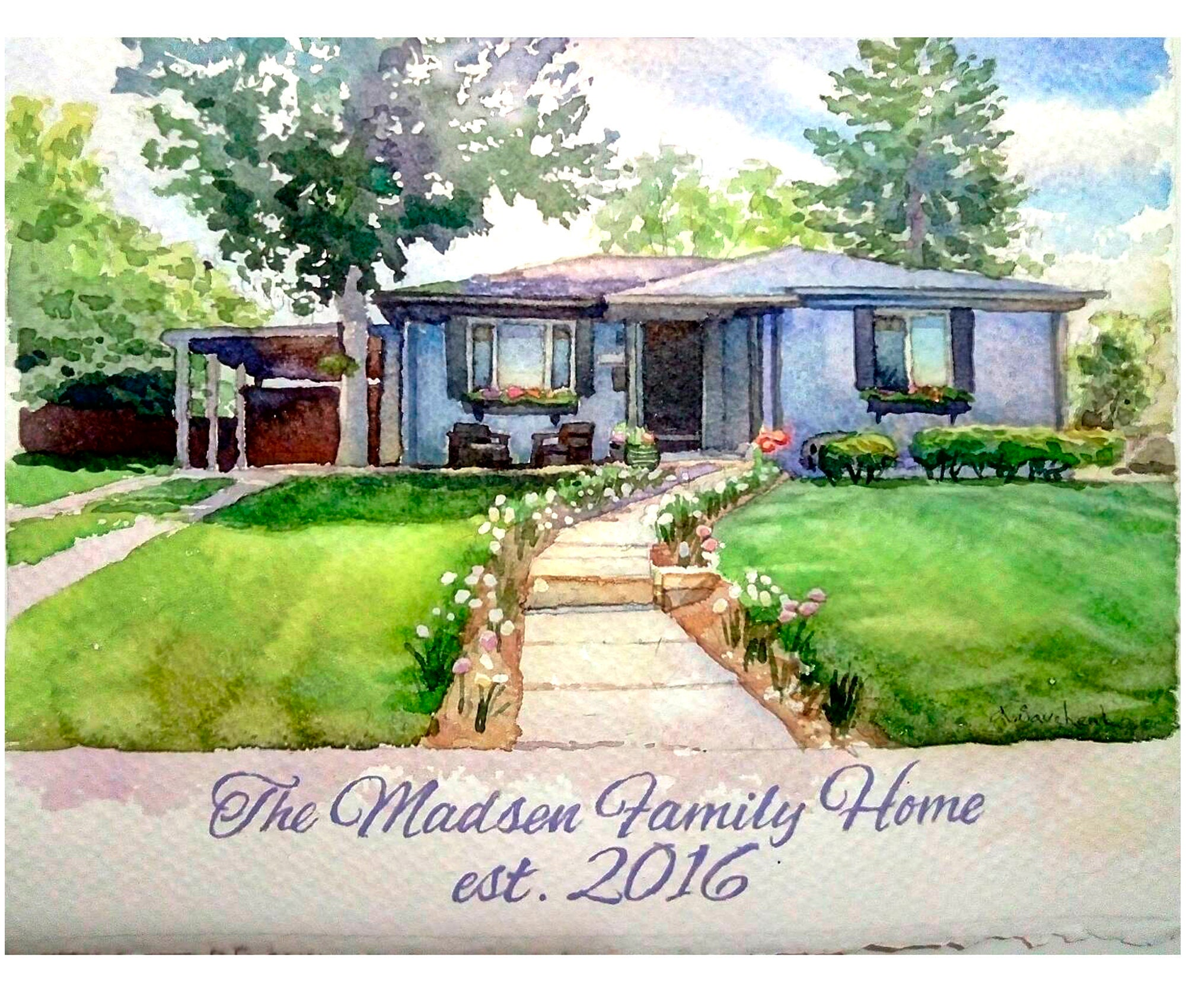 Custom Home Painting Watercolor House Portrait Painting Of My Etsy