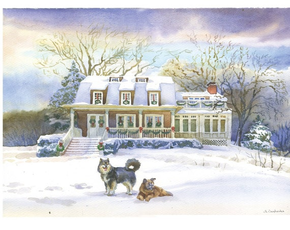 Christmas House Drawing.Snow House Portrait Custom Watercolor House Drawing Custom Home Portrait House Illustration New House Painting Christmas House Gift