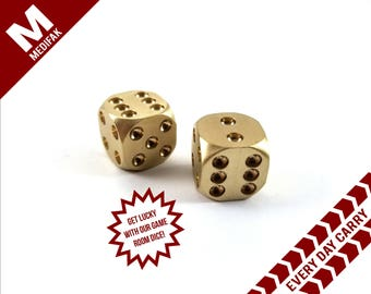 Brass Dice Unique Gift Pair Las Vegas Solid Brass Dice Gambling Gift Gaming Casino Card Game Groom Gift Bachelor Party Card Wedding