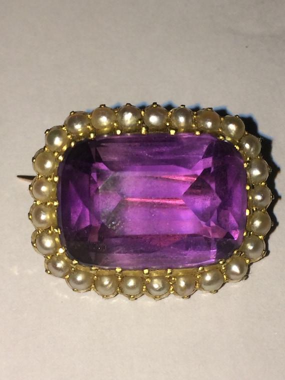 Antique 15ct gold amethyst  pearl brooch