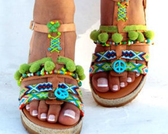 "Artemida"" Friendships  Boho Sandals, Leather sandals, Pom pom summer shoes,  Handmade Sandals, Greek Sandals, Bohemian sandalsMade with love"