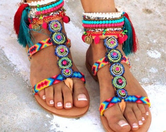 INKA Friendships  Boho Sandals, Pom pom summer shoes,  Handmade Sandals, Greek Sandals, hippie sandals, Bohemian sandalsMade with love