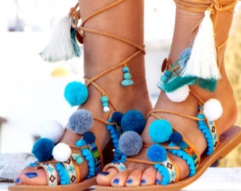 Hippieland Tie Up Gladiator Sandals, Greek Leather Sandals, Boho sandals, Pom Pom sandals Greek Sandals, .Made with love