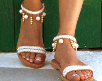 Moonlight Bridal sandals, Leather sandals, White Beach Wedding Sandals, Pearl sandals, Greek Sandal, luxury sandals,  Summer shoes