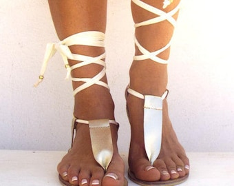 Gold Gladiator, Leather Sandals, Ivory lace up Sandals, Greek Sandals, handmade Genuine leather shoes,  .Made with love