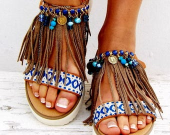 "Boho Fringe Sandals, Handmade Sandals, Greek Sandals, ""Leila\""  hippie sandals, Bohemian sandalsMade with love"