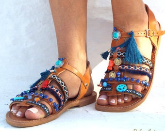 Blue Sea Friendships  Boho Sandals, summer shoes,  Handmade Sandals, Greek Sandals, hippie lsandals, Bohemian sandalsMade with love