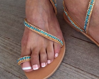 Blue crystal Sandals, Handmade Sandals, Greek Leather Sandals, Luxury Sandals,  Delos ArtMade with love
