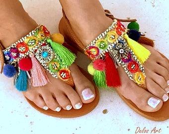 Colorful Sandals, /Carousel/ Pom Pom sandals, Colorful  Sandals, boho Sandals, Leather Sandals, Greek Sandals, Handmade Sandals
