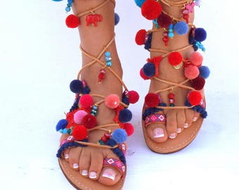 "POM Pom Sandals, ""American Dream"", Leather Sandals, Gladiator sandals, Greek Sandals,Colorful Sandals, beaded sandals, bohoMade with love"