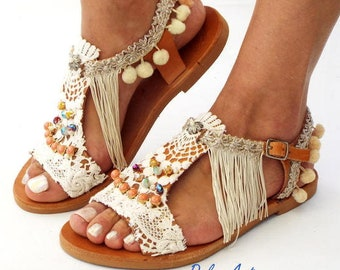 Pom Pom sandals, cotton lace, leather Sandals, wedding boho Sandals, Greek Sandals, handmade sandalsMade with love