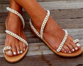 "Crystal & pearls, elegant, Bridal sandals, Leather sandals, ""Elf"",  Beach Wedding Sandals, wedding shoes, luxury sandals, Greek Sandal"