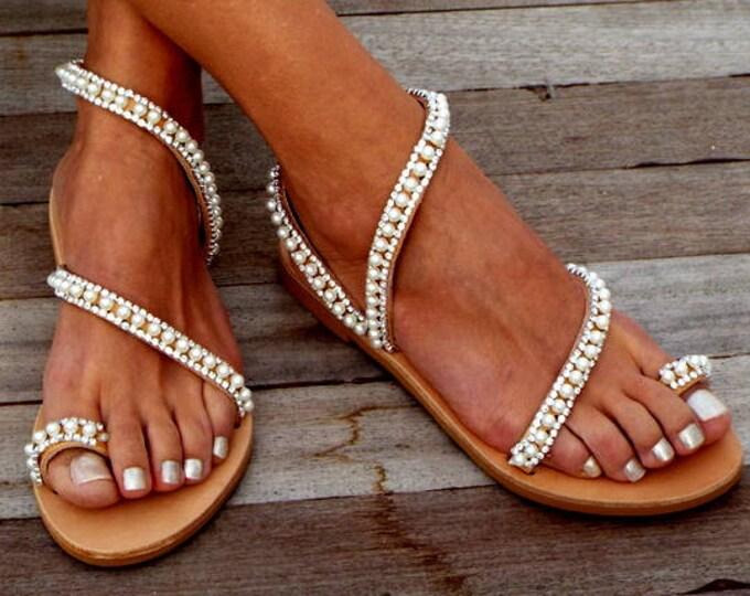 "Featured listing image: Crystal & pearls, elegant, Bridal sandals, Leather sandals, ""Elf"",  Beach Wedding Sandals, wedding shoes, luxury sandals, Greek Sandal"
