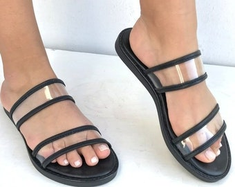 Slip on leather sandals, transparent PVC straps  Delos Art Exclusive , Greek sandals, Black Leather sandals,  Greek sandals, handmade