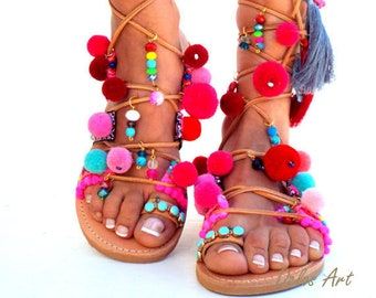 "POM POM Sandals, Pom Pom, Leather Sandals, Gladiator sandals, Greek Sandals, ""lollipop"" Colorful Sandals, beaded sandals, boho leather shoes"
